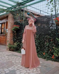 Inspiring Party Dresses with Nisa Cookie Hijab, Present Pastel Themes- Inspiring Party Dresses with Nisa Cookie Hijab, Present Pastel Themes Dress Brukat, Hijab Dress Party, Dress Outfits, Hijab Gown, Party Dresses, Vestido Batik, Batik Dress, Muslim Gown, Estilo Abaya