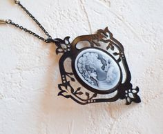 Victorian Cameo Necklace, Victorian Necklace, Gothic Cameo Necklace, Victorian Jewelry, Victorian Lady Cameo, Black Necklace  #cameo #ArKaysCreations #black