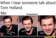 peter parker When I hear someone talk about Tom Holland. Tomhollxand popular memes on the site Funny Marvel Memes, Dc Memes, Marvel Jokes, Marvel Avengers, Avengers Memes, Marvel Art, Sung Joon, Tom Holland Imagines, Tom Holand