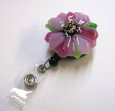 Retractable Badge Holder Fused Glass Pink Flower by CDChilds