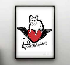 THE FRENCH BULLDOG  france  dog print  Frenchie  by nicemiceforyou, $20.00
