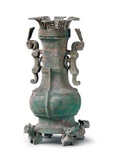 """""""Cai Hou Shen"""" Bronze Fanghu (wine vessel) Spring and Autumn Period (770–403 BC), Cai State Unearthed from tomb of Cai Hou at Shouxian, Anhui Province, 1955  This hu was commissioned by Cai Hou Shen (ruler of Cai State). By National Museum of China"""