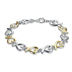 Colour Separation Hearts Chain Bracelet