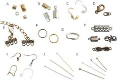 Basic Beading Techniques, Tools, Stringing Materials, Findings, How to attach a clasp, How to use stretchy Cord, How to use clamshell bead tips, Making loops and connectors