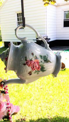 teapot Silverware Windchime, Garden Decorations by SherisJewelrynGlass on Etsy