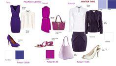 Paarse kleding voor wintertype party casual en zakelijk
