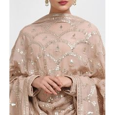 From our Wedding and Bridal Collection, this is an oyster pink pure crepe suit with intricate exquisite silvery gold gota patti and gold dabka work hand embroidery. The gota patti embroidered on the shirt at front-back neckline and sleeve ends. Pakistani Formal Dresses, Shadi Dresses, Indian Dresses, Indian Outfits, Pakistani Outfits, Embroidery Suits Punjabi, Embroidery Suits Design, Embroidery Designs, Beaded Embroidery