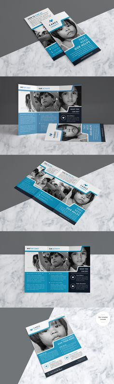 Professional & Clean Charity Trifold Brochure With Flyer Template Included - AI, EPS, INDD