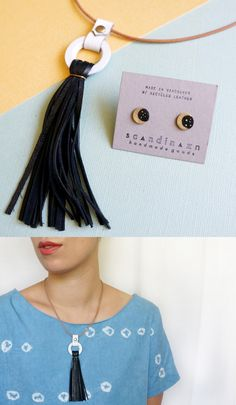 Black + White Tassel Necklace, and Lunar Moon + Stars Studs | Reclaimed leather jewelry by Scandinazn