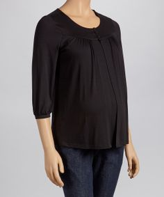 Black Maternity & Nursing Scoop Neck Top
