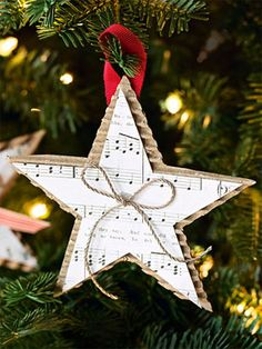 Simple yet elegant Christmas Ornament Craft.  And a cool way to reuse all those shipping boxes we're about to get.   Showcase the corrugated side and layer a piece of sheet music on top.