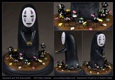 Kaonashi and the Susuwatari (No-Face and the Soot Sprites) , Spirited Away Please note, this piece was a commission and is not for sale. Commission : Kaonashi (No-Face) + the Soot Sprites Polymer Clay Miniatures, Fimo Clay, Polymer Clay Projects, Polymer Clay Charms, Polymer Clay Creations, Clay Crafts, Studio Ghibli, Anime Monsters, Anime Crafts
