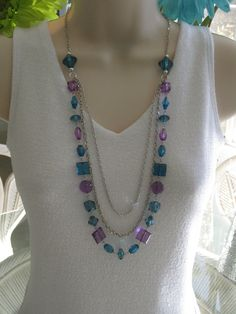 Purple and Blue Long Beaded Necklace by RalstonOriginals on Etsy, $18.00