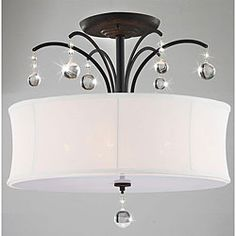 Could this work in the master?  @Overstock.com.com - This bronze five-light flush-mount chandelier is a classy accent piece for your room or kitchen. The sparkling crystals peer out over the simple white shade to provide an elegant visual aesthetic, and the antique bronze finish sets this piece apart. $116.99