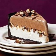 Chocolate-Peanut Ice Cream Cake This spectacular layered frozen dessert, which features peanut butter and fudge, is simple to assemble. Make ahead and keep it in the freezer until ready to serve.