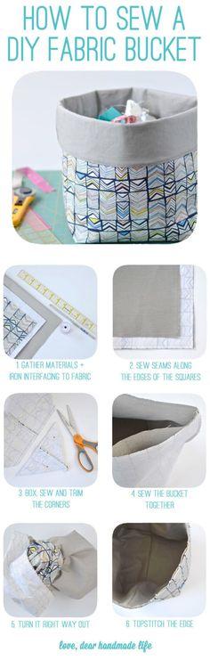 How to sew a DIY fabric bucket from Dear Handmade Life