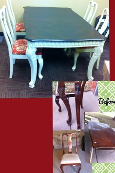 I bought this giant solid wood table for $45! It needed work, but I knew it had potential! after sanding the top I found that the surface was perfect, just the old varnish was messed up!. I used Rustoleum Kona stain, 2 coats. I put 4 coats of Rustoleum polyurethane on top.  I used Rustoleum Protective enamel in Almond on both the table legs and the chairs. I found the chairs for $10 each! primered with Kilz Original and then 2-3 coats of Almond spray paint. Fabric from Hancock's.