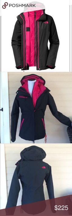 ✨30% off✨North Face Cinnabar Triclimate NWT, Northface 3 in 1 jacketHyVent 2L waterproof zip in Northface Heatseeker insulated linerfully adjustable removable hoodmedia compatibility secure zip chest pocketcenter front zip w/storm flapspit zip vents, hem cinch cord360• reflectivity NO Trades. North Face Jackets & Coats Utility Jackets