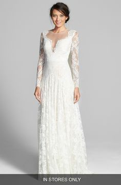 Watters 'Arcelia' Illusion Yoke A-Line Lace Gown (In Stores Only) available at #Nordstrom