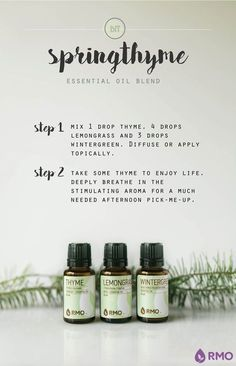 """It's Essential Wednesday! Springthyme, this week's essential oil diffuser blend uses Thyme, Lemongrass and Wintergreen to create a mentally stimulating aroma for any afternoon pick-me-up! Use this blend to take some """"thyme"""" to reboot mind and body."""