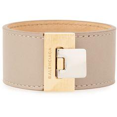 Balenciaga Le Dix Leather Cuff Bracelet (15.835 RUB) ❤ liked on Polyvore featuring jewelry, bracelets, balenciaga, beige lin, cuff jewelry, engraved jewelry, lock jewelry and balenciaga jewelry