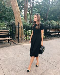 Gal Meets Glam Daily Look featuring Julia wearing a Gal Meets Glam Collection Victoria Dress, Chanel pumps and carrying a Mark Cross bag. Modest Clothing, Modest Dresses, Modest Fashion, Dresses For Work, Feminine Fashion, Modest Work Outfits, Modest Black Dress, Red Midi Dress, Clothing Stores