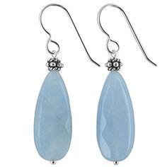 Aqua Jade Gemstone Sterling Silver Handcrafted Earrings