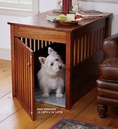 Concept for Diesel's grown up dog bed - similar to his crate but doubles as side table