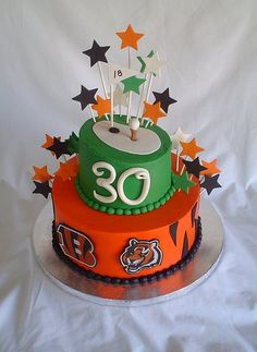 Bengals & Golf Birthday cake would be a perfect cake for Brandon (except Green Bay instead of the Bengals!)