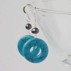 black pearl and blue turquoise silver earrings £15.00