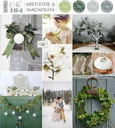 Soft and vintage inspired winter wedding scheme. Soft sage greens with ivory and whites. Magnolia leaves and pine with velvet ribbons and white chocolate minty sweets. Ahhh so fresh
