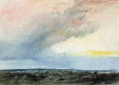 A Rainstorm at Sea by Joseph Mallord William Turner. Rain Storm,  conveys a sense of a wild sky and sea, and includes only minimal detail. This and  other similar small works by Turner are sometimes referred to as  'colour beginnings', whereby colour washes are used to capture  mood and movement rather than an accurate visual record of the  landscape