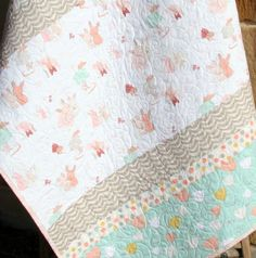 Girl Crib Quilt, Pastel Bunnies Flowers, Coral Mint Grey