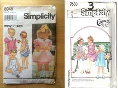 Simplicity 8948 and 7633 Toddler Dresses Size 3 Cut, Complete Vintage - Sewing Patterns