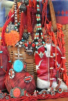 Red coral jewelry Boho Gypsy Navajo sterling silver necklace bracelet ring earrings red hot vintage