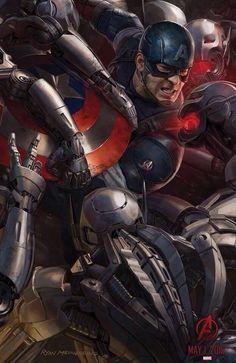 Avengers 2 Concept art Cap vs Ultron bots