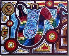 JoyZine - Australian Aboriginal Dreamtime: In the Womb of the Rainbow Serpent Aboriginal Art For Kids, Aboriginal Dot Painting, Dot Painting, Australian Art, Painting, Art