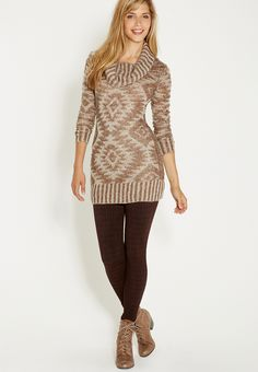 Patterned cowl neck sweater dress - #maurices