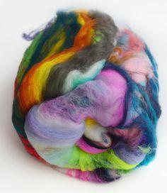 Hand carded wool blend textured spinning fiber art batt - 222 Handspun