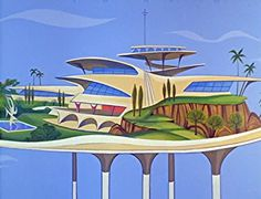 """Retro A Googie-inspired home of the future on The Jetsons (""""Millionaire Astro"""" originally aired: January - The futurist design movement that divided critics and and swept the nation with space age coffee shops Studio Decor, World Of Tomorrow, Tomorrow Land, The Jetsons, Hanna Barbera, Retro Futuristic, Futuristic Design, Science Fiction Art, Googie"""