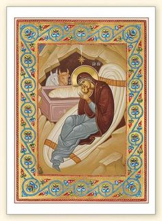 Nativity Detail with Scroll Border by Holy Nativity Convent printed icon card Christian Images, Christian Art, Religious Icons, Religious Art, Queen Of Heaven, Religious Paintings, Byzantine Icons, Renaissance Paintings, Catholic Art