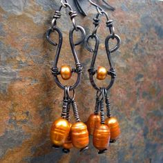 Etsy Transaction - Copper Waterfall - earrings with cascading pearls and sterling silver earwires