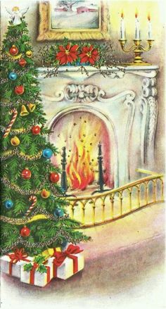 Vintage Greeting Card Christmas Fireplace Home Chair Tree Holiday Images, Vintage Christmas Images, Retro Christmas, Vintage Holiday, Christmas Pictures, Old Time Christmas, Old Fashioned Christmas, Christmas Scenes, Christmas Past