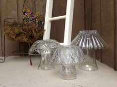 Another finished project from today... Crystal mushrooms with solar lanterns tucked inside!! Thrift store crystal bowls and vases, Krazy glue and solar lights. So easy and such pretty fungi!