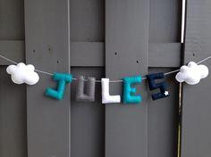 Découvrez Guirlande PRENOM pour la chambre de bébé en feutrine sur alittleMarket