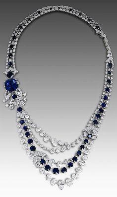 Diamond-necklaces-DAVID MORRIS collier-zaffiri-diamanti