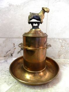 Antique Dog Trophy - Vintage Trophy - Terrier - Pipe Stand - Brass Dog Show Award. $145.00, via Etsy.