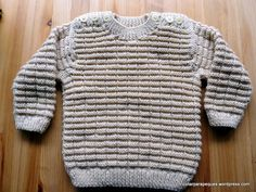 Jersey cerrado, con botones en los hombros, talla 15-24 meses. Pull with buttons in shoulders, size 15-24 months. Modelo 35.   Tricotar para peques - Knitting for kids Knitting For Kids, Baby Knitting, Maria Jose, Baby Sweaters, Leo, Pullover, Crochet, Fashion, Kids Fashion