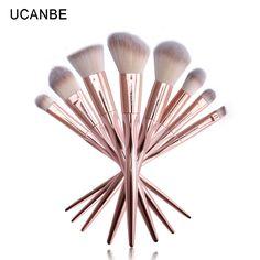 UCANBE Brand 8pcs Grasp Handle Rose Gold Metallic Makeup Brushes Kit Set For Eyeshadow Contour Top Soft Fiber Hair Make Up Brush