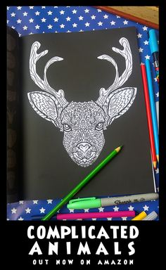Reindeer - Image from Complicated Animals - A Mixed Menagerie Colouring Book - Illustrated by Antony Briggs - UK link: http://amzn.to/2aeY18T USA link:http://amzn.to/2aeXS5B